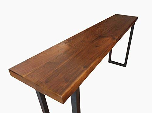 Harvest Walnut Console Table with Black Matte Steel Tube Legs