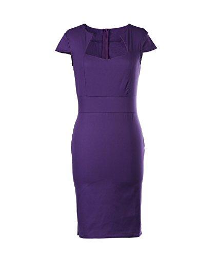 Ahlsen Hot Sale Women's Knee-length Purple 1950s Vintage Bodycon Church Dresses Floral 3# Size - Fashion 1950s Sale For