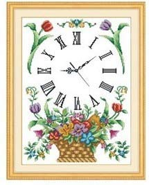 Zamtac Counted Cross Stitch Kit timepieces with dials Flower Basket, Cross Stitch Clock time 11CT - (Cross Stitch Fabric CT Number: 11CT Counted Canvas) ()