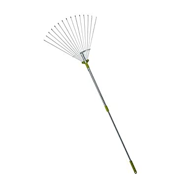 MLTOOLS® 64-inch Adjustable Garden Leaf Rake - Flat Tine Adjustable Steel Rake with Extendable Handle R8236 - Special Offer!