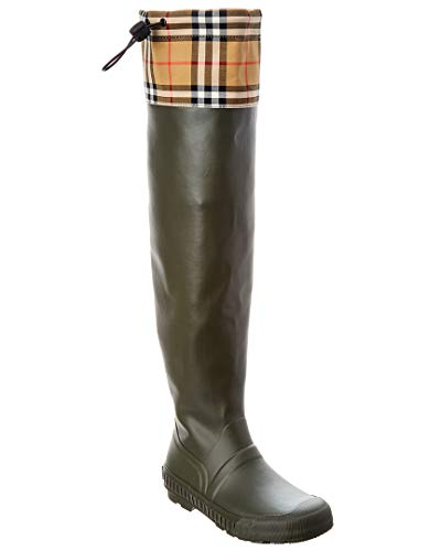 BURBERRY Vintage Check & Rubber Knee-High Rain Boot, 39, Green