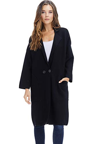 Alexander + David Womens Sweater Trench Coat Jacket – Button Fall Knit Long Trench Overcoat (Black, Medium/Large)
