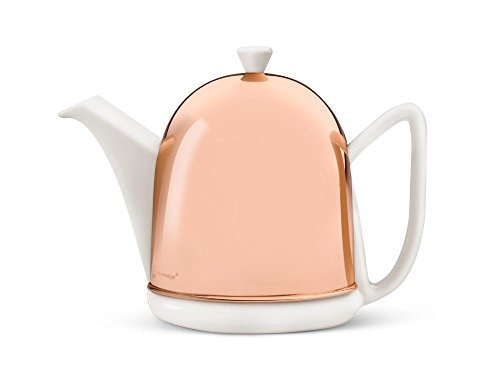 1L White Ceramic Teapot with Copper Metal Casing