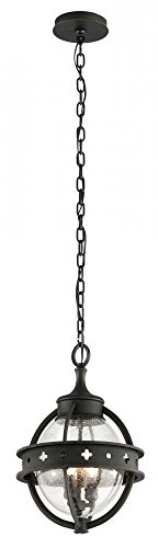 (Troy Lighting Mendocino 3-Light Outdoor Pendant - Forged Black Finish with Clear Seeded Glass)