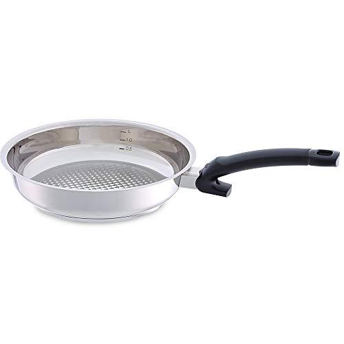 Fissler crispy steelux comfort / Edelstahl-Pfanne (Ø 24 cm) unbeschichtete-Steakpfanne, Bratpfanne-induktionsgeeignet, Stielpfanne, ideal zum krossen anbraten, alle Herdarten - auch Induktion