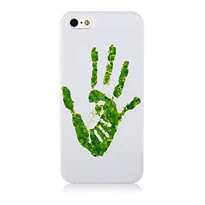 Patr¨®n verde de la mano suave de la caja del silic¨®n para iPhone4/4S