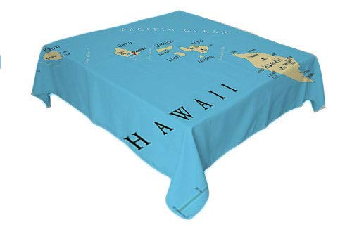 Flyerer Hawaiian ations Kitchen Table Cover Map of Hawaii Islands Capital Honolulu Borders tablecloths Party Decorations Important Cities and Volcanoes Rectangle Tablecloth 60 by 120 inch