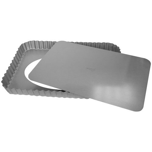 Patisse 03568 Rectangular Quiche Pan with Removable Bottom Non-Stick, 8-5/8 x 12-5/8, Gray Metallic 8-5/8 x 12-5/8