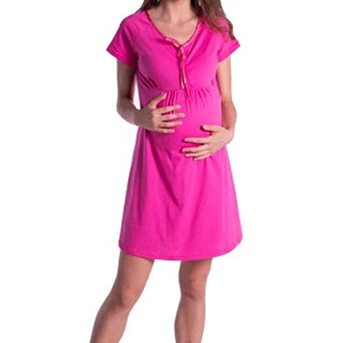 Allywit Women Maternity Leisure Short Sleeve Breastfeeding Multicolor 12 Color Dress S-2XL Hot Pink