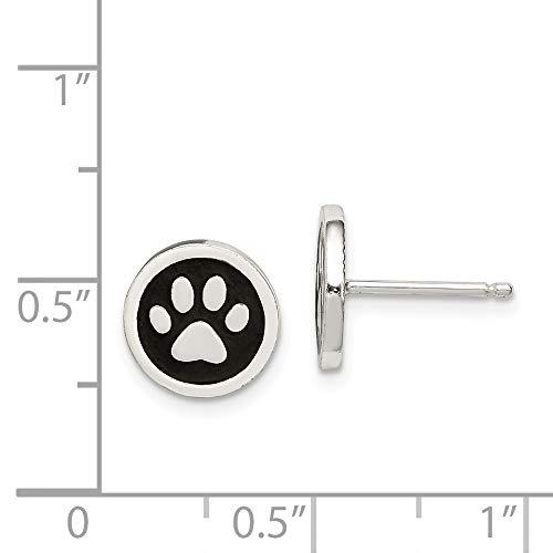 2d673fd09 SHOPUS | 925 Sterling Silver Enamel Paw Print Post Stud Earrings ...
