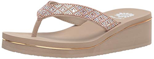 Yellow Box Women's Achillas Sandal, Taupe, 10 M - Thongs Jeweled