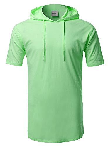 Solid Drawstring Hood Short Sleeve Top Green L