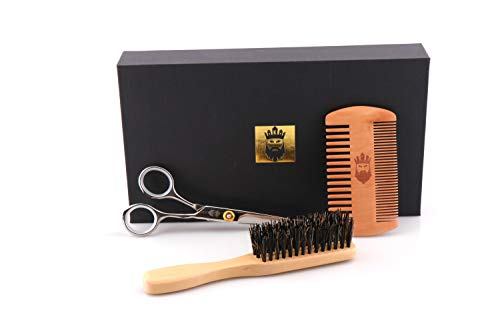 Beard Grooming Kit-3 in 1 Beard Trimming Set with Beard Brush,Beard Comb,Beard Scissors for Men