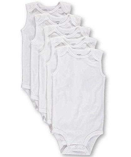 Carters Unisex 5-Pack Sleeveless Bodysuits - white, 24 months