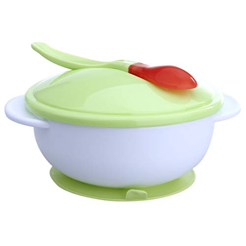 Bowl Trolley (GZU Suction Cup + Temperature Baby Learning Feeding Food Bowl with Sensing Spoon - Green)