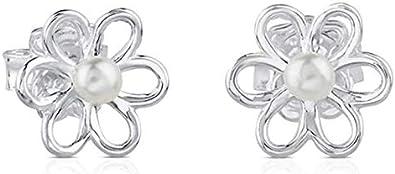 TOUS Maggie - Pendientes en plata de primera ley y perlas cultivadas de 0,35 cm. Tamaño: 1,1 cm. Cierre presión.