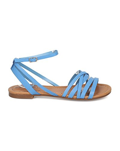 Breckelles Indio-21 Konstläder Strappy Platt Sandal ... Blå