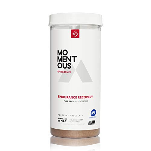 RedShift Grass-Fed Whey Protein Isolate, 14 Servings Per Jar for Endurance Recovery Post-Workout Protien Powder, Gluten-Free, NSF Certified, Non GMO - Momentous (Chocolate)