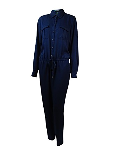 RALPH LAUREN Lauren Women's Multi-Pocket Drawstring Jumpsuit (6, Blue) by RALPH LAUREN