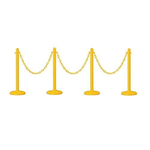 Plastic Safety Queue Stanchion Barrier Set with 32' Chain 4 PCS and C-Hook (Yellow)