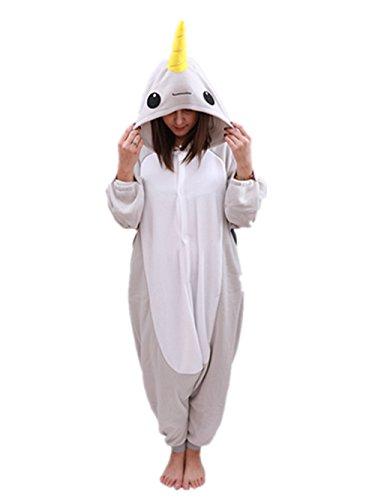 Animal Oneise Narwhal Pajamas - Plush One Piece Costume (Medium, Gray)
