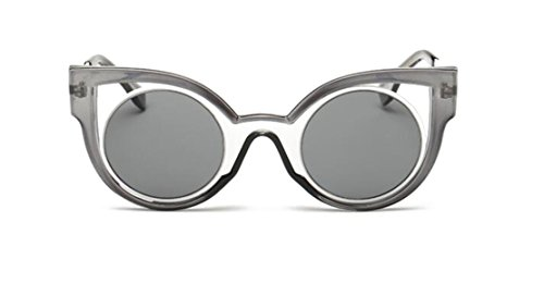 GAMT Retro Cateye Sunglasses with HD Round Lens UV400 gray frame gray - Branded Frames Spectacle