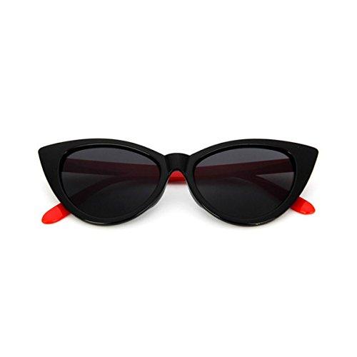 Gafas Para Polarizadas Estilo Sol negra brillante ECYC® roja Marco De y Catado A04 Gafas Mujer Sol pierna De Retro Grueso rqwIq