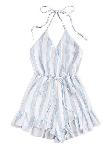 (SweatyRocks Women's Sexy Halter V Neck Backless Striped Print Short Romper Jumpsuit White Blue X-Large)