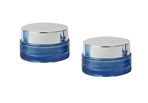 VANTOBEST 2Pcs 20ml Empty Blue Glass Bottle Refillable Cosmetic Container with Silver Lid and Inner Pad for Face Cream Lotion Lip gloss Lip Balm Ointment Etc