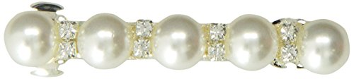Caravan Traditional Auto Barrette Decorated With Five (5) Pearls And Crystal Rhinestones