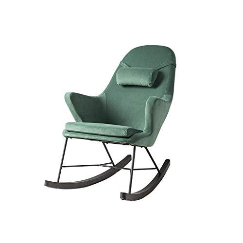 (HYYTY-Y Single Sofa Rocking Chair, Solid Wood Velvet Relax Patio Armchair - Green)
