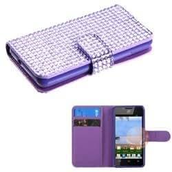 MYBAT Purple Diamonds Book-Style MyJacket Wallet compatible with Huawei H881C / Y301