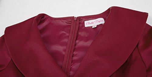 Vintage Swing Dress Line Long A Women's Sleeve Retro Red Solid Belle c4Cyw