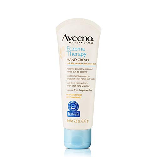 Aveeno Eczema Therapy Hand & Face Cream for Dry, Itchy Skin with Colloidal Oatmeal & Ceramide, Fragrance- & Steroid-Free Skin Protectant Lotion, Travel-Size, 2.6 oz (Pack of 3)