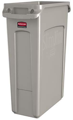 Rubbermaid Commercial Products Slim Jim Plastic Rectangular Trash/Garbage Can with Venting Channels, 23 Gallon, Beige (FG354060BEIG)]()