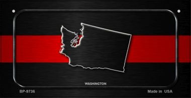 Washington Thin Red Line Novelty Bicycle License Plate BP-9736 by Smart Blonde
