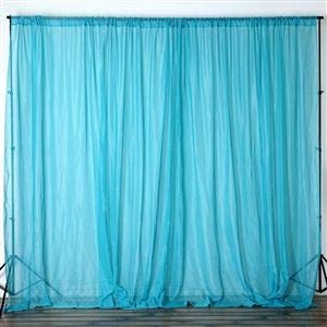 Drape Georgette - lovemyfabric Sheer Chiffon/Georgette Stage Backdrop, Drape, Curtain for Wedding, Reception, Special Events Wall and Window Decor (Aqua, 56