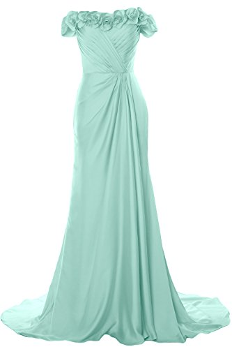 MACloth Women Off Shoulder with Flowers Long Prom Dress 2018 Evening Formal Gown Menta