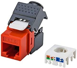 ShineBear Gigabit RJ45 CAT6 Keystone Jacks Modules Tool-Free Connection Cable Length: 24pcs per Pack, Color: Mixed Colors Orange//Red//Green//White 4 Colors for Optional