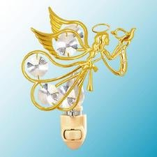 Flying Angel With Dove Night Light..... Clear Swarovski Austrian Crystals