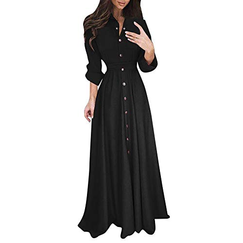 Clearance Sale! Wintialy Womens Lady Casual Fashion Long Sleeve Lapel Maxi Long Dress Solid Shirt Dress