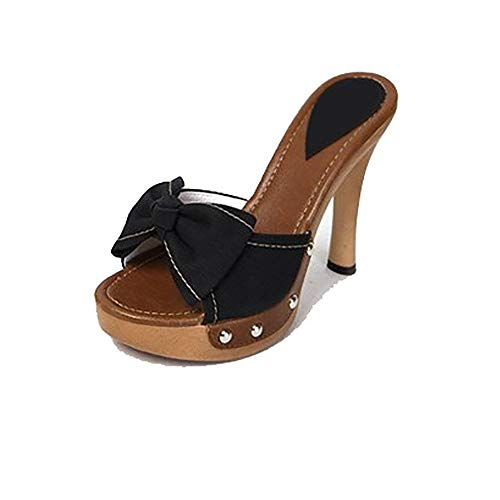 WAZMM AZZ Sandals and Slippers Cowgirl Bow Rivet Waterproof Platform fine high-Heeled Type (Greater Than 8cm)