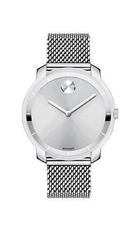 Women's Bold Thin Stainless Steel Watch with a Printed Index Dial, Silver (Model ) - Movado 3600241