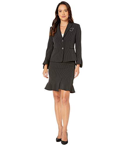 Tahari by ASL Petite Peak Lapel Two-Button Besom Pocket Flutter Sleeve Skirt Suit with Breast Pin Black/White 12P