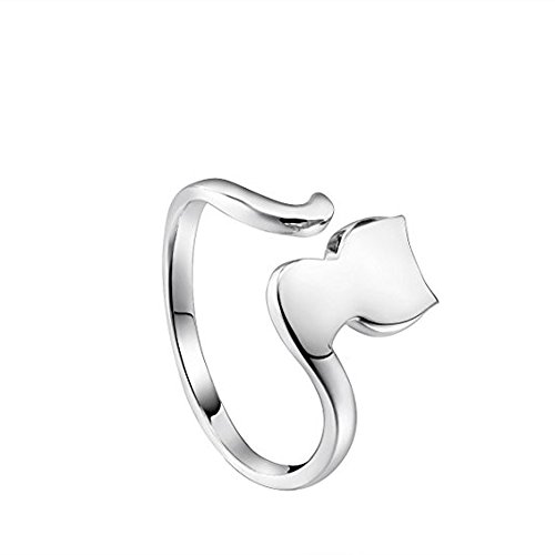 DTJEWELS Cute Kitty Cat Tail Adjustable Toe Ring for Women's in 14K White Gold Plated .925 Sterling