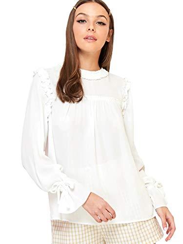 Romwe Women's Elegant Frill Trim Long Sleeve Ruffle Keyhole Back Blouse Top (Medium, White)