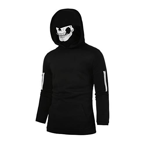 Realdo Mens Hoodie, Mens Skull Mask Pullover Casual Solid Zip Long Sleeve Hooded Sweatshirt ()