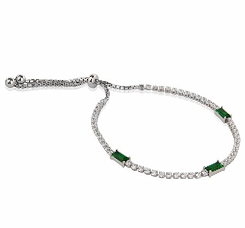 (Quality Jewels Sterling Silver Cubic Zirconia Splendid Adjustable Tennis Bracelet with Colored Rectangular Emerald CZ Stone Studs (Green))