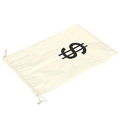 Robber Large Fake Money Drawstring Bag Pouch with Dollar Sign Design Humorous Party Favor Carry Bag 16 x 11 inches Cream