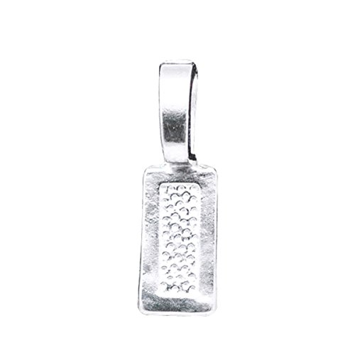 Housweety 50 Silver Plated Tag Glue on Bail - Plated Tag Silver